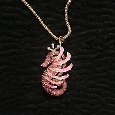 Betsey JoHnson Necklace.  Rhinestone Sea Horse.