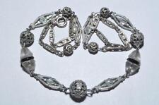 Pretty Vintage Art Deco Filigrana Perline & Geometrica Collana di Perline