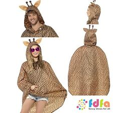BROWN GIRAFFE FESTIVAL PARTY SHOWER PONCHO mens ladies fancy dress costume