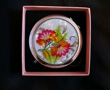 Makeup Cosmetic Compact Mirror Flower  & Magnifying Portable