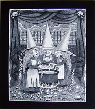 "Halloween Three Witches Art Print Matted to 24"" x 20"" Overall Size"