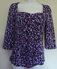LK Bennett Small UK8-10 EU36-38 US4-6 new purple-mix stretch 3/4 sleeve top
