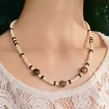 Lovely Protective Tigers Eye, White Turquoise, Tourmaline 925 Silver Necklace