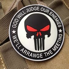 PUNISHER 3D PVC GITD GOD WILL JUDGE OUR ENEMIES TACTICAL SWAT VELCRO PATCH White