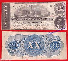 USA CONFEDERATE STATES OF AMERICA 20 dollars 1862 Civil War Pick 53  MBC- /  VF-