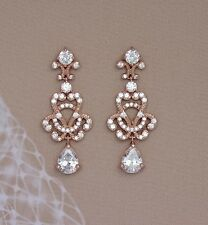 Isadora Swarovski Crystal Bridal Formal Rose Gold Chandelier Earrings Vintage