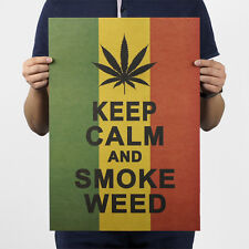 Keep Calm And Smoke Weed Art Painting Vintage Kraft Paper Poster Decal