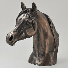 Horse Racing Bronze Head Sculpture Arab Stallion Bust H15cm Harriet Glen 01432