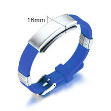 Fashion Stainless Steel Rubber Silicone Bangle Bracelet Clasp Cuff Wristband