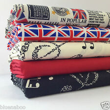 5 fat quarter bundle British musical news &  Union Jack flag100 % cotton fabric