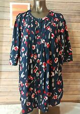 Lane Bryant women's plus size 14/16 blue floral tunic blouse