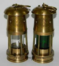 "Set of 2 Brass Miners Lamp ~ Miner's Oil Lantern ~ 6"" Mining Coal Lantern Lamps"