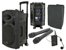 QTX QR12PA Portable PA System Battery USB Sound Package inc Cover & Beltpack