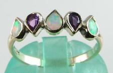 CLASS 9K WHITE GOLD AAA AUS OPAL & AFRICAN AMETHYST ETERNITY RING FREE RESIZE