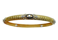 Vintage Signed Diamond Bangle Bracelet 21K Solid Gold Heavy Estate Jewelry