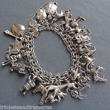 Vintage Elco Sterling Silver Charm Bracelet LOADED 28 Charms Animals ETC