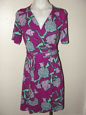 LILLY PULITZER * PRETTY!! PURPLE& PINK FLORAL PRINT WRAP JERSEY DRESS*XS/S