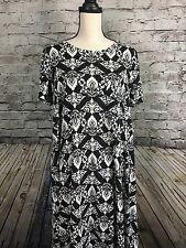 NWT LulaRoe Carly Dress Black White Damask Unicorn Size L