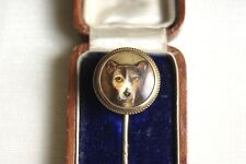 ANTIQUE VICTORIAN 15 CT GOLD WILLIAM ESSEX ENAMEL DOG STICK PIN SIGNED AND DATED