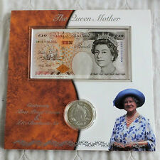 2000 QUEEN MOTHER CENTENARY £10 BANKNOTE & SILVER PROOF CROWN SET - QM10 000269