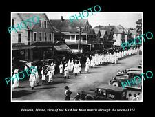 OLD LARGE HISTORIC PHOTO LINCOLN MAINE, THE KU KLUX KLAN MARCH IN TOWN c1924