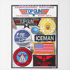 "TOP GUN ""ICEMAN"" FANCY DRESS Patches - Iron-On Patch Mega Set #065 - FREE POST"
