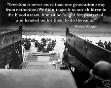 """Ronald Reagan """"Freedom"""" Quote D-Day World War 2  WWII 11x14 Photo Picture Poster"""