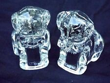 """Lot of 2 Vintage Federal Clear Glass """"Mopey Dog"""" Candy Container EXCELLENT"""