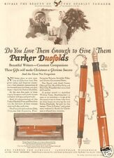 VTG 1925 PARKER Duofold Fountain Pen RED LACQUER Set Gift CHRISTMAS TREE Art Ad