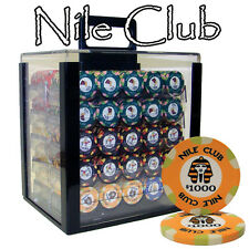 New 1000 Nile Club 10g Ceramic Poker Chips Set with Acrylic Case - Pick Chips!