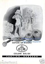 Wolle Cartier Bresson Reklame von 1954 Italien Mädchen Spiegel Kleid Unterwäsche