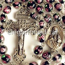 Handmade Glaze BLACK ROSE BEADS ROSARY CROSS Pardon CRUCIFIX CATHOLIC NECKLACE