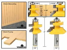 Yonico 15227 Matched Tongue and Groove V-Notch Router Bit Set 1/2-Inch Shank , N