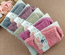 5 Pairs Women Wool Cashmere Thick Warm Soft Solid Casual Sports Socks Winter New