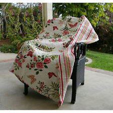 NEW Butterfly & Flowers Quilted Blanket Cotton Throw Reversible Cover Home