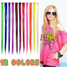 "12-Colors 24"" Colored Colorful Clip On In Hair Extension"