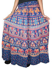 INDIAN ETHNIC COTTON SKIRT BLUE BLOCK PRINT HIPPIE BOHO GYPSY LONG SKIRTS