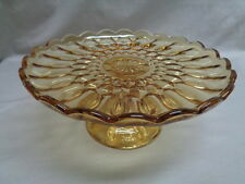 Vintage Anchor Hocking Amber Fairfield Cake Stand On Pedestal