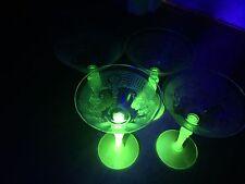 1930S VINTAGE VASELINE URANIUM GLASS GREEN HOCKING? RARE 2 TONE WINE SET (4)