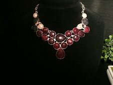 necklace wine ruby 925 Silver Cleopatra cluster bib adjustable