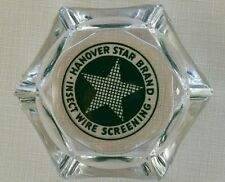 Vtg Clear Glass Advertising Ashtray☆Hanover Star Brand☆Insect Wire Screening☆Exc