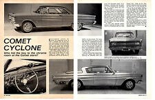 1964 MERCURY COMET CYCLONE 289 ~ ORIGINAL 2-PAGE ARTICLE / AD