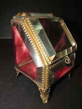 Antique French Brass & Beveled Glass POCKET WATCH DISPLAY CASE Jewel Casket