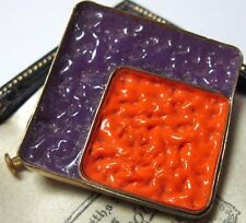 VINTAGE Art Deco Enamel Geometrical Resin Orange and Purple Jewellery Pin Brooch