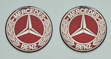 2pcs x MERCEDES BENZ Vintage logo. Domed 3D Stickers/Decals. Diameter 50mm.