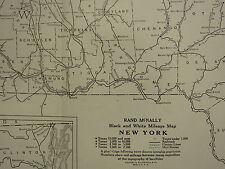 1922 mappa di grandi dimensioni ~ new York Stato chilometraggio INSET Long Island estensione