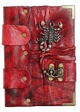 Scorpion Pendant Red Handmade Leather Journal / Notebook / Sketchbooks / Dairy