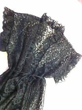 NEW Valentine Black Lace Nighty Negliee Sexy Jacket Frederick's Hollywood