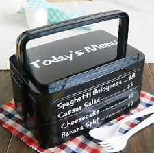 3 Layers Plastic Bento Lunch Box Food Container BPA Free Microwave Safe Black