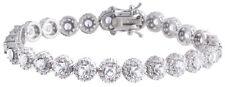Sterling Silver 925 Womens CZ Cubic Zirconia Stones Bracelet 7mm Wide